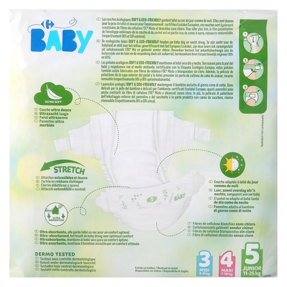 Pañales soft&eco-friendly ecologicos Carrefour Baby T5 (11kg.-25kg.) 24 ud. - 1