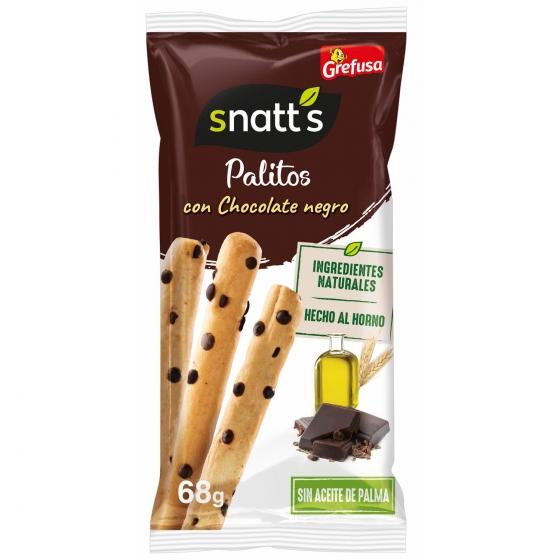 Palitos de trigo con chocolate y avellanas Grefusa Snatt's 68 g.