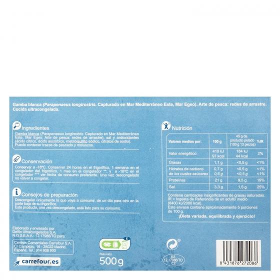 Gamba blanca cocida Carrefour 500 g. - 1