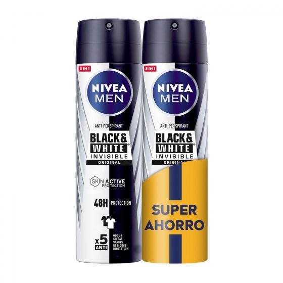 Desodorante en spray invisible for black & white Nivea men pack de 2 unidades de 200 ml.