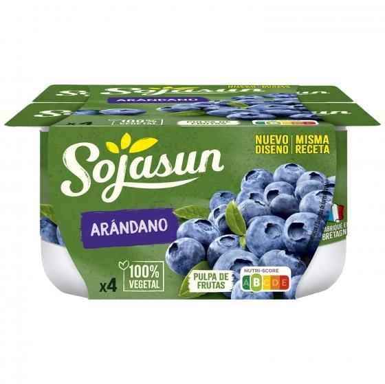 Preparado de soja con arándanos Sojasun sin lactosa pack de 4 unidades de 100 g.