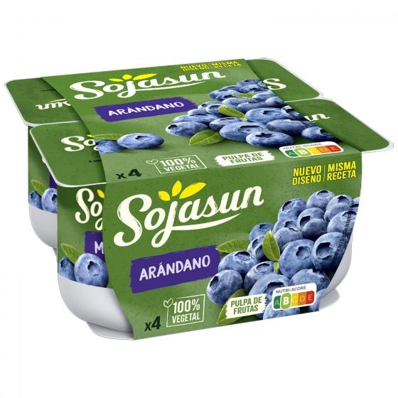 Preparado de soja con arándanos Sojasun sin lactosa pack de 4 unidades de 100 g. - 1