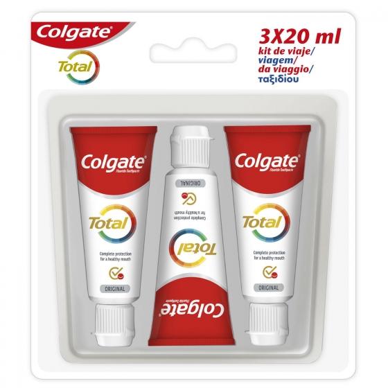 Dentífrico Colgate Total pack de 3 unidades de 20 ml.