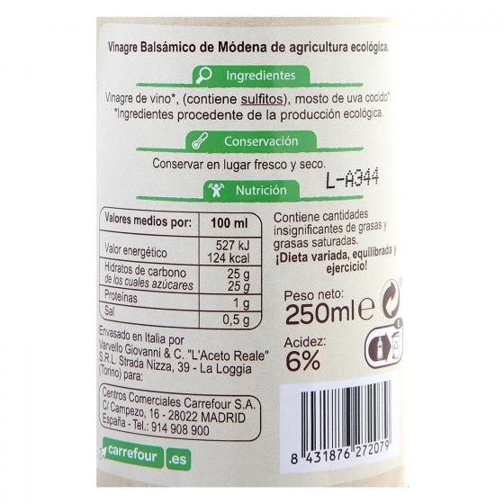 Vinagre balsámico de módena ecológico Carrefour Bio 250 ml. - 1