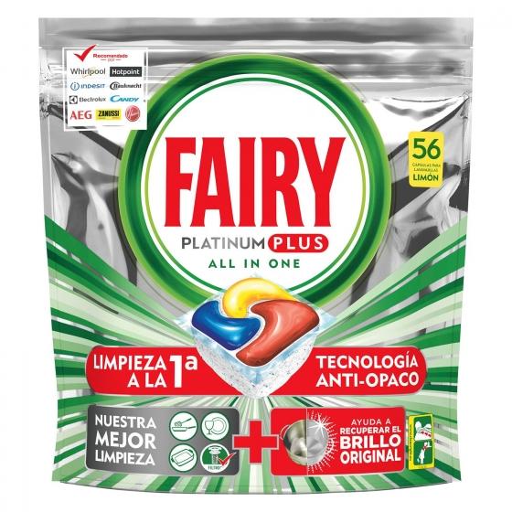 Lavavajillas a máquina platinum plus aroma limón  Todo en 1 en cápsulas Fairy 56 ud.