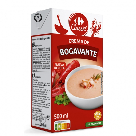 Crema de bogavante Carrefour 500 ml.