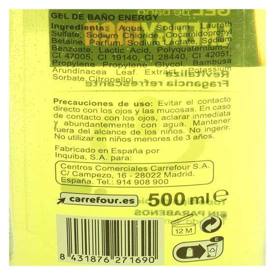 Gel de ducha Energy Men Carrefour 500 ml. - 1