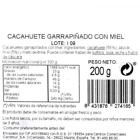 Cacahuete miel Carrefour tarrina 200 g - 3