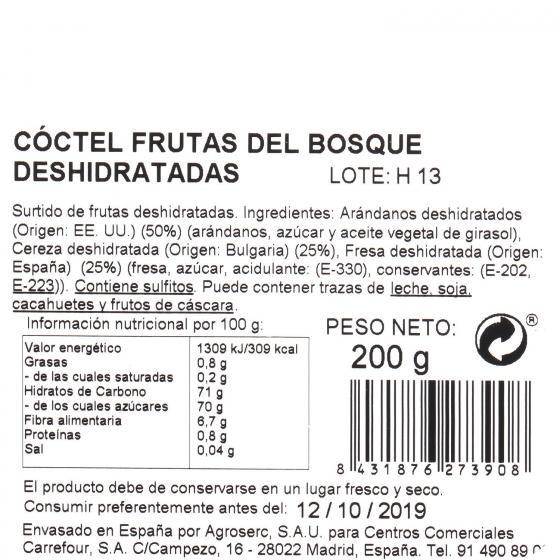Coctel frutas del bosque deshidratadas Carrefour tarrina 200 g (arandanos, cereza y fresa) - 3