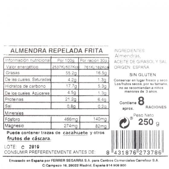Almendra repelada frita Carrefour tarrina 250 g - 3
