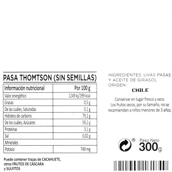 Pasa thompson (sin semilla) Carrefour tarrina 300 g - 4