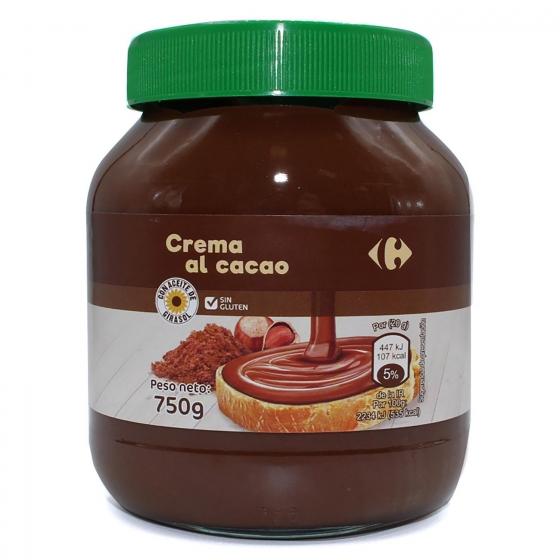 Crema de cacao y avellanas sin gluten Carrefour 750 g.