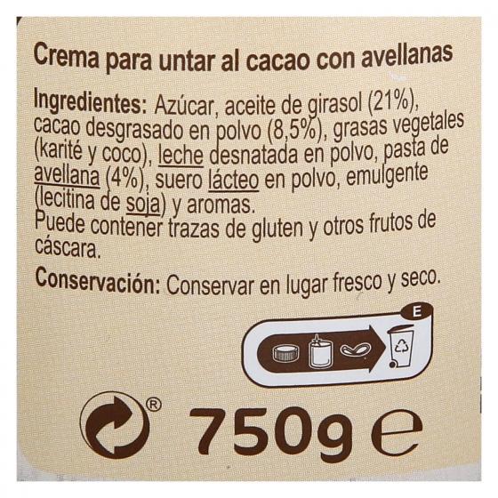 Crema de cacao y avellanas sin gluten Carrefour 750 g. - 1
