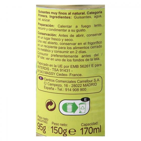 Guisantes muy finos al natural Carrefour Pack de 2 unidades de 95 g. - 1