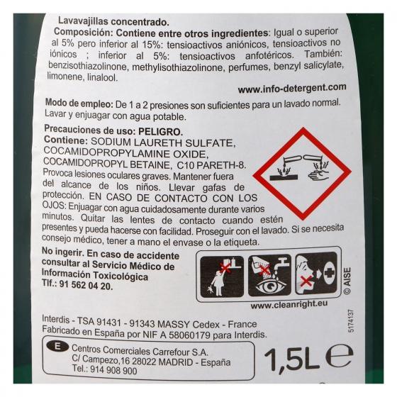 Lavavajillas a mano concentrado ultra Carrefour 1,5 l. - 1