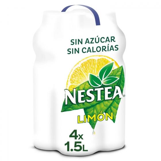 Refresco de té Nestea sin azúcar sabor limón pack de 4 botellas de 1,5 l.