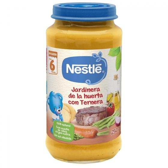 Tarrito de verduras jardinera con ternera desde 6 meses sin sal añadida Nestlé sin gluten 250 g.