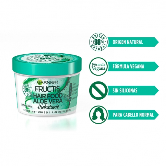Mascarilla capilar 3 en 1 Hair Food Aloe Vera hidratante para cabello normal Garnier Fructis 390 ml. - 1