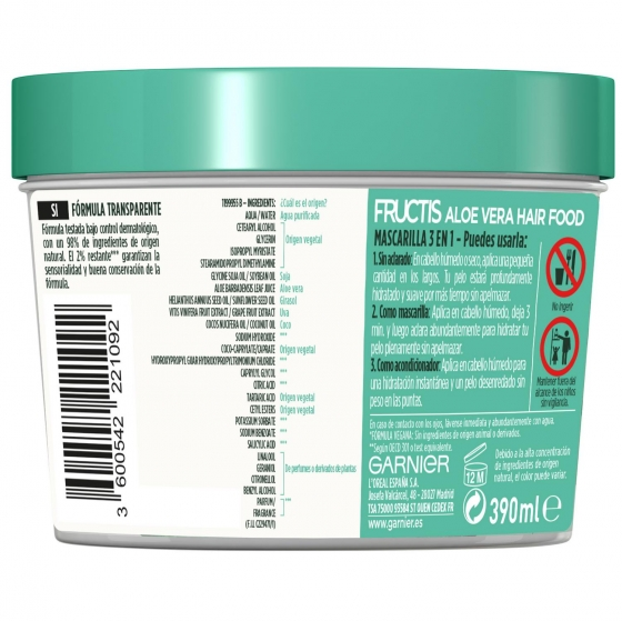 Mascarilla capilar 3 en 1 Hair Food Aloe Vera hidratante para cabello normal Garnier Fructis 390 ml. - 3