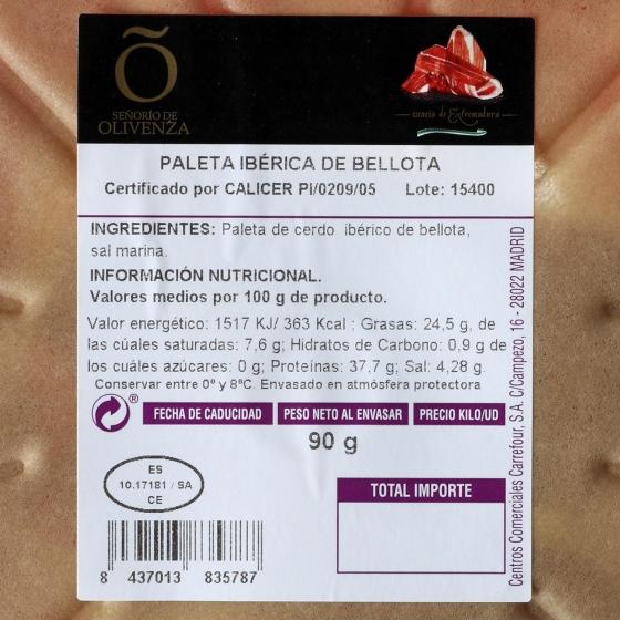 Paleta ibérica de bellota en plato Señorío de Olivenza 126 g - 3
