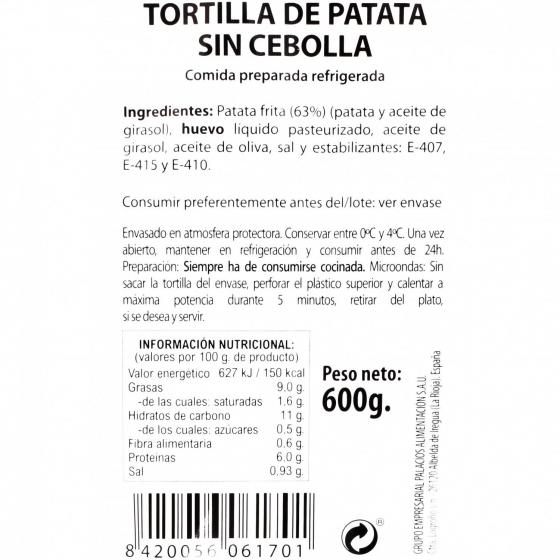 Tortilla de patata sin cebolla 600 g - 3