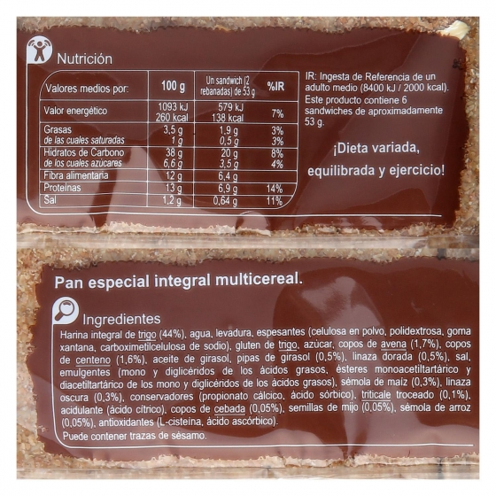 Pan sándwich multicereales Carrefour 320 g. - 3