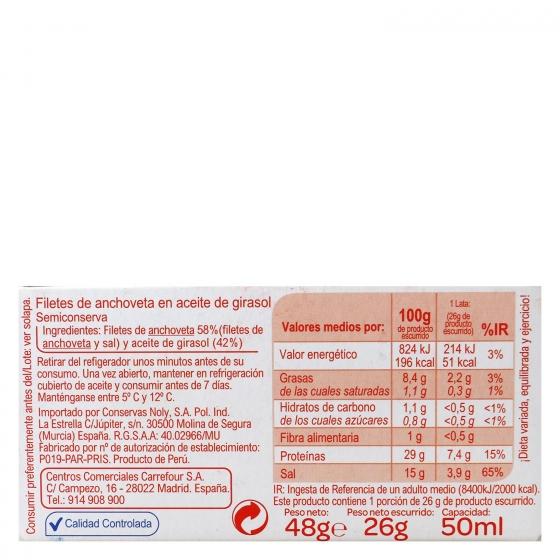 Filetes de anchoas en aceite de girasol 26 g. - 1
