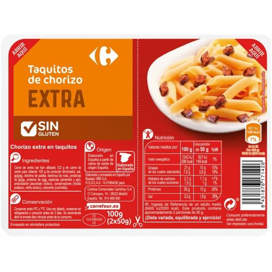 Taquitos de chorizo Carrefour sin gluten 100 g.