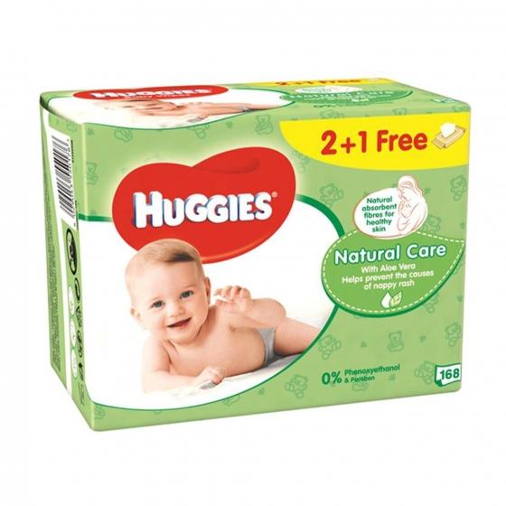 Toallitas para bebé Natural Care Huggies 168 toallitas - 3