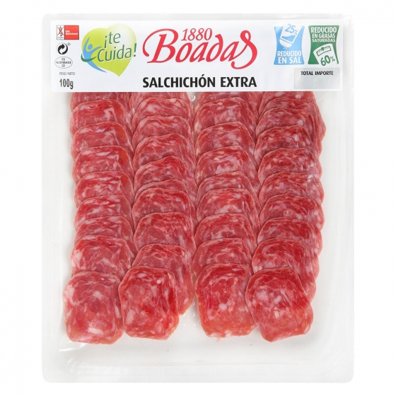 Salchichón extra reducido en sal loncheado Boadas 100 g - 1