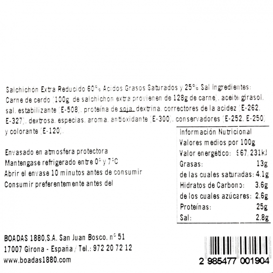 Salchichón extra reducido en sal loncheado Boadas 100 g - 3