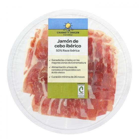 Jamón ibérico de cebo en lonchas Carrefour Calidad y Origen 100 g