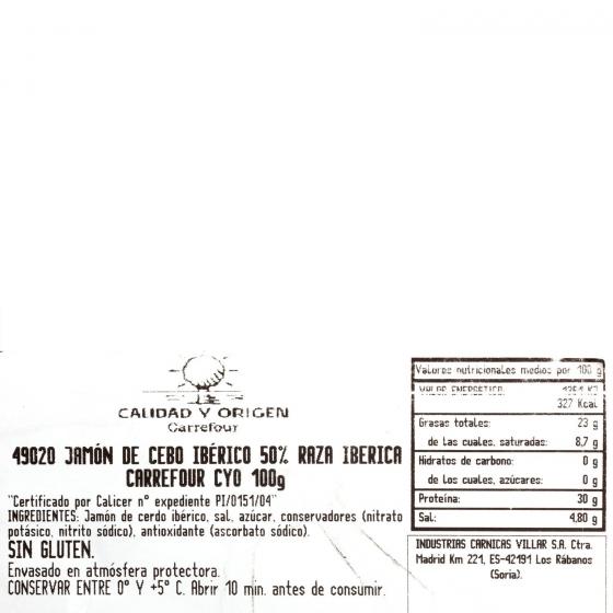 Jamón ibérico de cebo en lonchas Carrefour Calidad y Origen 100 g - 3