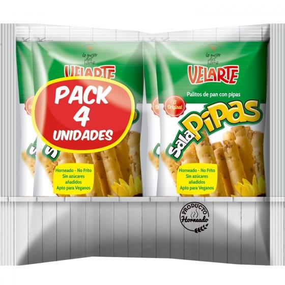 Palitos de pan crujiente con pipas Velarte pack de 4 unidades de 40 g.