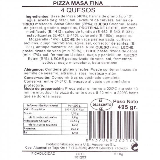Pizza 4 quesos Agrucarnes 495 g. - 3