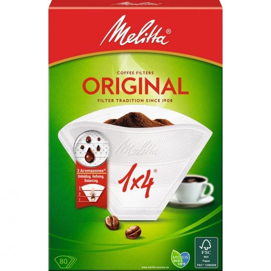 Filtros para Cafetera de Papel MELITA 1x4  80 ud - Blanco