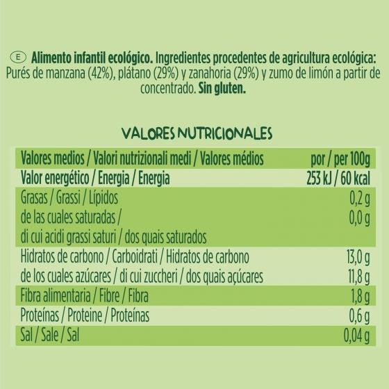 Preparado de plátano, manzana y zanahoria desde 4 meses ecológico Hero Baby Solo bolsita de 100 g. - 1
