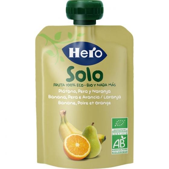 Preparado de pera, plátano y naranja desde 4 meses ecológico Hero Baby Solo bolsita de 100 g.