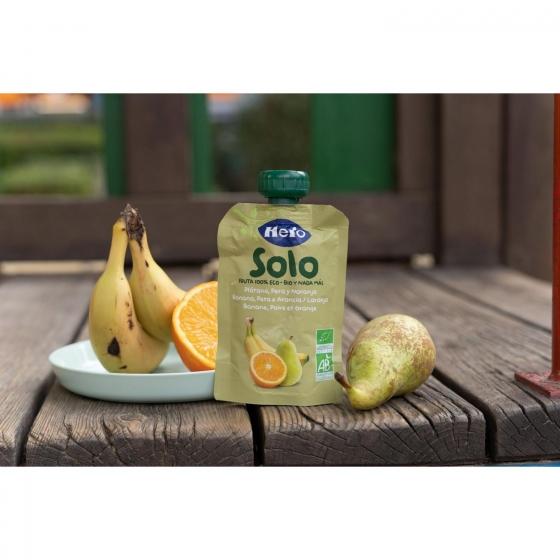Preparado de pera, plátano y naranja desde 4 meses ecológico Hero Baby Solo bolsita de 100 g. - 1