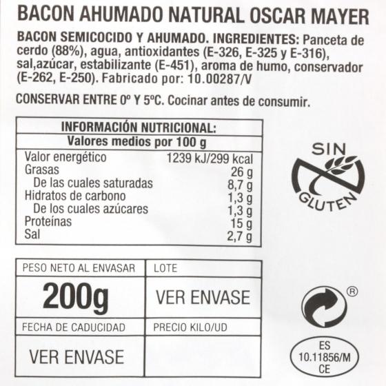 Bacon cocido lonchas Oscar Mayer envase 200 g - 1