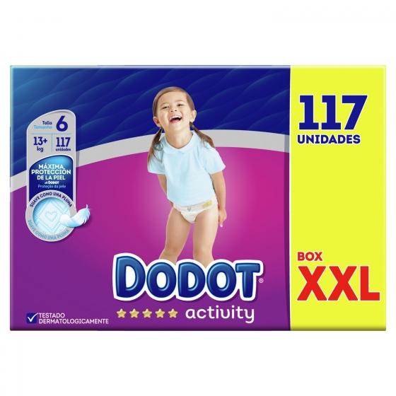 Pañales Dodot activity XXL Talla 6 (+13 Kg) 117 ud.