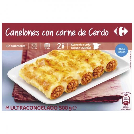 Canelones de carne congelados Carrefour 500 g.