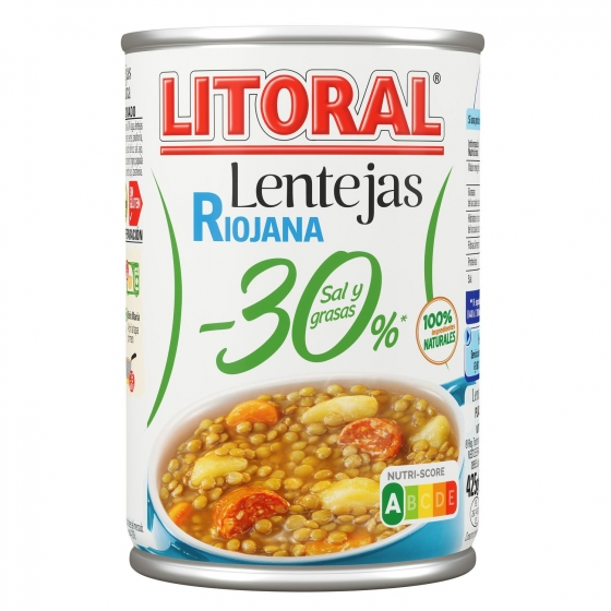 Lentejas a la riojana -30% de sal Litoral sin gluten  425 g.