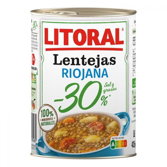 Lentejas a la riojana -30% de sal Litoral sin gluten  425 g. - 1