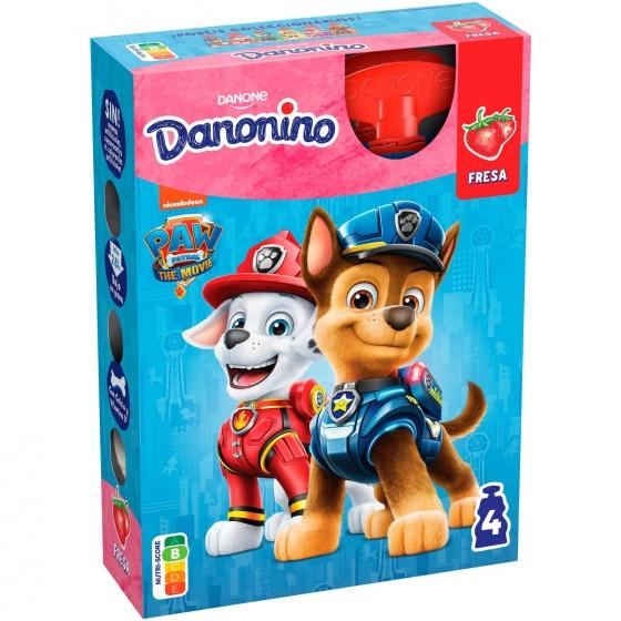 Yogur líquido de fresa Danone Danonino en bolsitas pack de 4 unidades de 70 g.