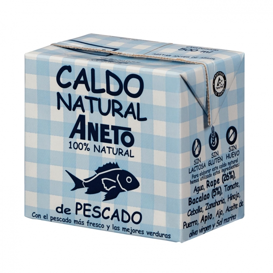 Caldo natural de pescado Aneto sin gluten y sin lactosa 500 ml.