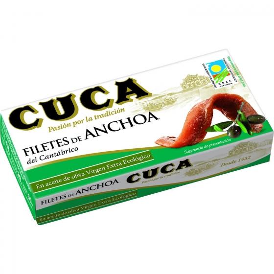 Filetes de anchoas del Cantábrico en aceite de oliva virgen extra ecológico Cuca sin gluten y sin lactosa 29 g.