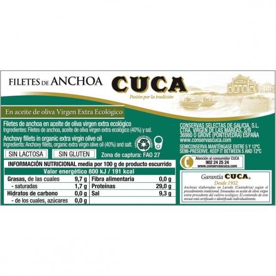 Filetes de anchoas del Cantábrico en aceite de oliva virgen extra ecológico Cuca sin gluten y sin lactosa 29 g. - 1