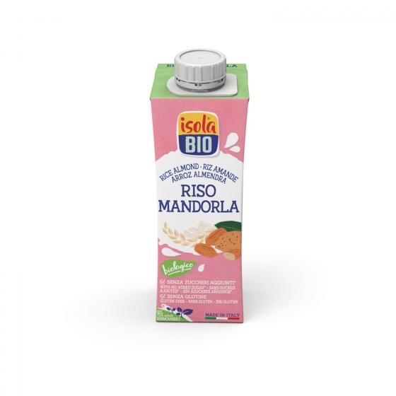Bebida de arroz con almendras ecológica Isola Bio sin gluten brik 250 ml.