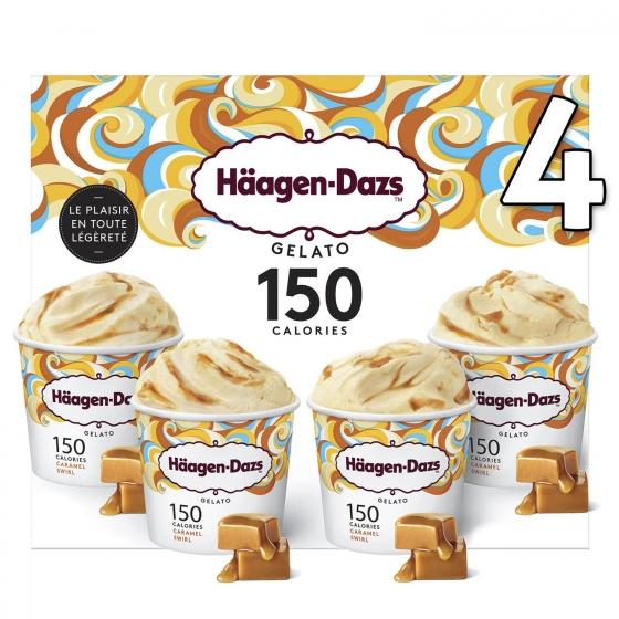 Helado caramel swirl Häagen Dazs pack 4 unidades de 72 g.